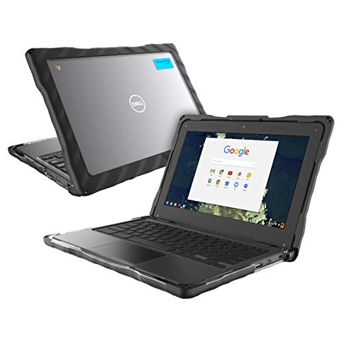 GumDrop Droptech Case Designed for Dell 3100 Chromebook Laptop for K-12 Students, Teachers, Kids - Black, Rugged, Shock Absorbing, Extreme Drop Protection (Dell 3100 Clamshell Chromebook)
