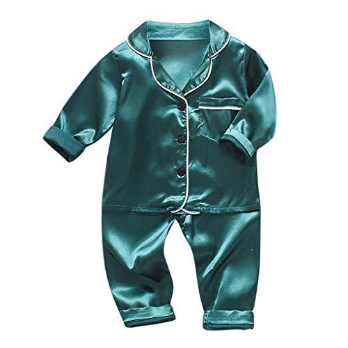 Xmiral Kinder Baby Jungen Pyjamas Langarm Einfarbig Hemd Hosen Nachtwäsche Outfits...