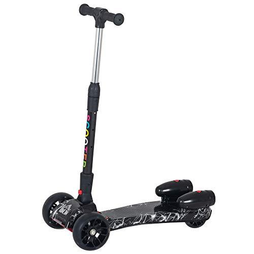 HOMCOM Patinete para Niños Scooter Plegable con Altura Ajustable de 4 Niveles y Música Luces y Nebulizador de Agua +3 Años 62x27x63-81 cm Negro