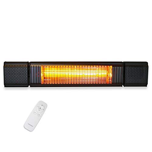 VASNER Appino BEATZZ Infrarotstrahler schwarz, dimmbar 2000 Watt mit Bluetooth, LED Backlight Licht, Musik-Lautsprecher Außenbereich, Ultra Low Glare