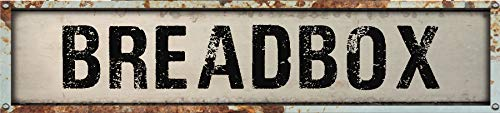BREADBOX 8' Rectangle White Weathered Painted Metal Rustic Look Decal Bumper Sticker for use on Any Smooth Surface