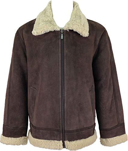 UNICORN Hommes haute qualité de peau de mouton veste volant Brun avec fourrure de crème 'Air force' en cuir de aviateur manteau #H7 Taille 38