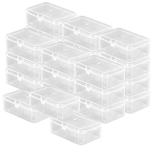 24 piezas Mini caja de almacenamiento, 6.5 * 4.5 * 2.4cm, Caja de Contenedores de Almacenamiento de Plastico Transparente con Tapa para Joyas, Artículos, Tarjetas, etc.