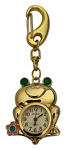 Klox Reloj Fob Enfermera de Bolsillo, en Forma de Rana, Llavero Dorado, Movimiento de Cuarzo japonés analógico