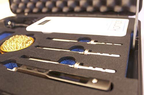 Komps Tragbarer Batteriebetrieben Lötset TS100 Lötkolben, Powerbank, Spitzen, Netzteil, Silikonkabel, Koffer mit Schaumstoffeinlagen