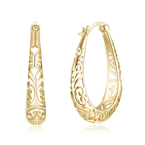Nykkola - Pendientes de aro bañados en oro de 18 quilates y plata de ley 925, diseño clásico, joyería fina para mujeres y niñas
