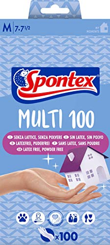 Spontex Extra 100 - Guantes finos de vinilo hipoalergénico, 100 unidades, talla M-7