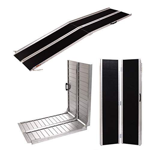 JAXPETY 10 FT Aluminum Folding Loading Wheelchair Scooter Mobility Ramp Portable Non-Slip, Silver and Black