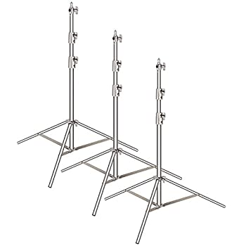 Neewer 3-pack Stainless Steel Light Stand with 1/4 -inch to 3/8-inch Universal Adapter 39-102 inches/99-260 centimeters Foldable Support Stand for Studio Softbox,Umbrella,Strobe Light,Reflector,etc