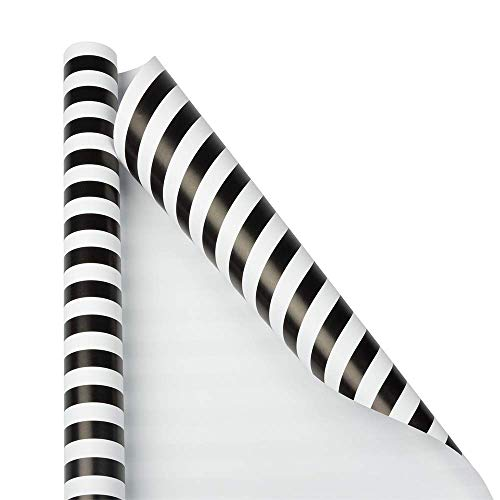 JAM PAPER Gift Wrap - Striped Wrapping Paper - 25 Sq Ft - Black & White Stripes - Roll Sold Individually