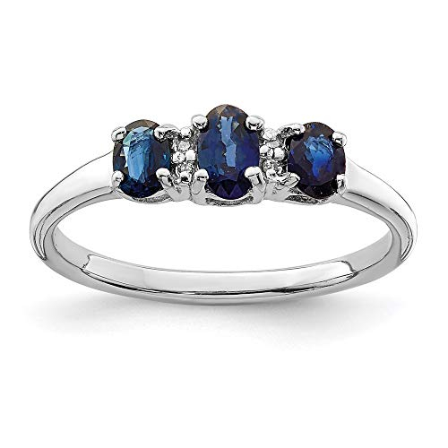 925 Sterling Silver 3 Oval Sapphire Diamond Band Ring Size 7.00 Stone Gemstone Fine Jewellery For Women Gifts For Her