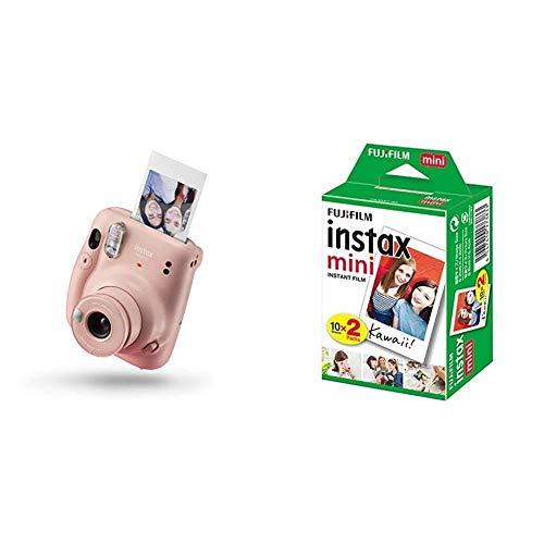 instax Mini 11 Camera, Blush Pink & Mini Instant Film, 2X 10 Blatt (20 Blatt), Weiß