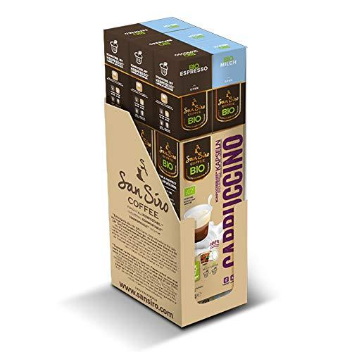 SanSiro BIO Kaffee CAPPUCCINO | 100% industriell kompostierbar | 60 Kapseln | für Nespresso | umweltfreundlich und CO2 neutral