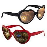 Swetup 2 Stück Heart Effect Glasses Diffraktion Brille, 3D Heart Glasses mit Herz-Effekt, Rave Brille, 3D Brille Beugungsbrille für Musik im Freien Party/Bar/Nachtclub (Rot/Schwarz)