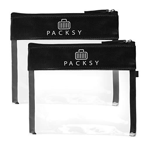 PACKSY 2X Premium Kulturbeutel transparent 1l | Kulturtasche für Flüssigkeiten im Handgepäck, Flugzeugreise Set im Doppelpack | Unisex & TSA konform (schwarz)