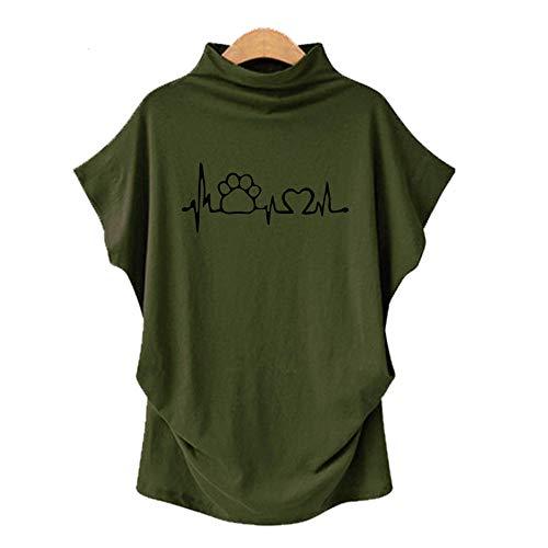 DREAMING-Camiseta De Manga Corta De Murciélago con Cuello En V para Mujer, Talla Grande, Primavera Y Verano, Manga Corta + Estampado L