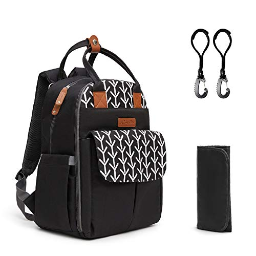 Kkomforme Baby Changing Bag Backpack with Changing Mat & Stroller Strap, 26L Mufti-Functional Large Capacity Waterproof Diaper Backpack for Mom & Dad(Print Black)