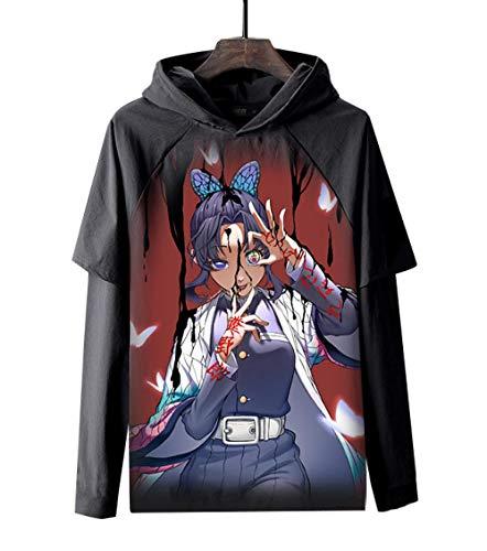 MWMMWLH Sudaderas con Capucha,Moda Nio Jersey con Capucha Anime 3D Impreso Demonio Asesino Unisex Falso Dos Sudaderas con Bolsillos Negro 3XL
