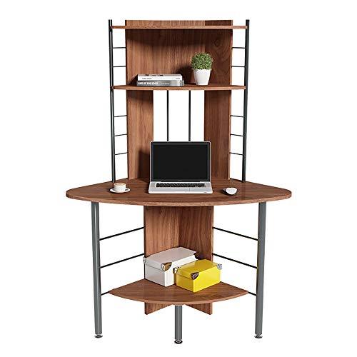 ZHFC - Escritorio para ordenador de esquina, mesa de estudio de varios niveles con estantes para libros, patas antideslizantes ajustables, estructura de acero estable, para el hogar o la oficina