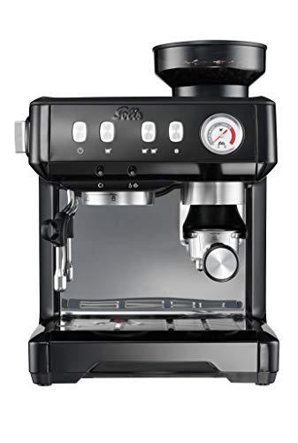 Solis Grind & Infuse Compact 1018 - Kaffeemaschine mit Mahlwerk und Milchaufschäumer - Halbautomatische Edelstahl Espressomaschine - Schwarz