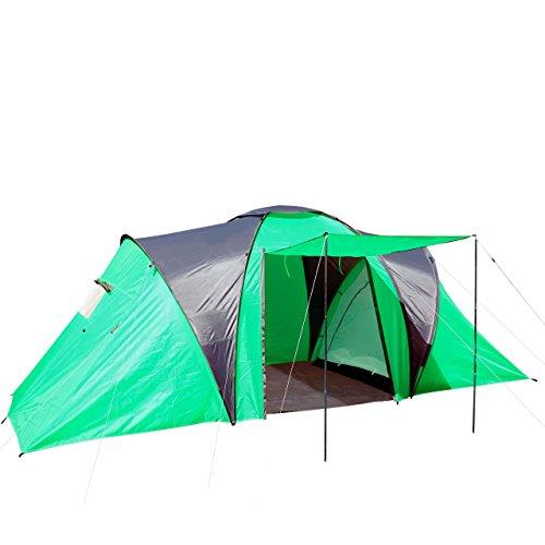 Campingzelt Loksa, 4-Mann Zelt Kuppelzelt Igluzelt Festival-Zelt, 4 Personen ~ grün