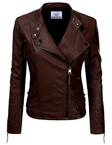 TheSmartSales Chaqueta de cuero marrón para mujer - marrón - XXL