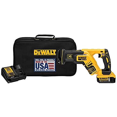 DEWALT 20V MAX XR Compact Reciprocating Saw, 5.0-Amp Hour, Cordless (DCS367P1)