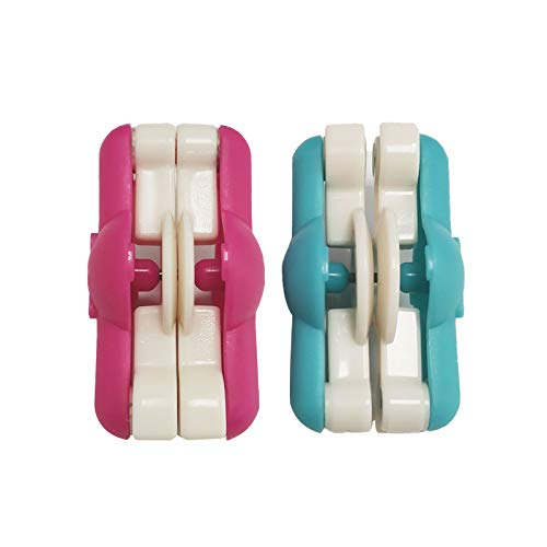 Kit de herramientas de lana para tejer artesanías de 2 piezas, kit de mini pompones, uso para hacer bolas de pompones o crear proyectos creativos, rojo + azul