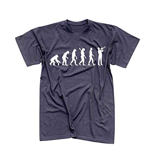 T-Shirt Evolution Trompeter Jazz Funk Big Band Musik 13 Farben Herren XS - 5XL Brass Ska-Punk Orchester Blechbläser Kornett Hobby, Größe:XL, Farbe:dunkelgrau - Logo Weiss