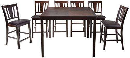 247SHOPATHOME IDF-3325PT 7PC Dining-Room, 7-Piece Set, Brown