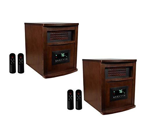 LifeSmart LifePro 6 Element 1500W Portable Infrared Quartz Space Heaters (Pair)