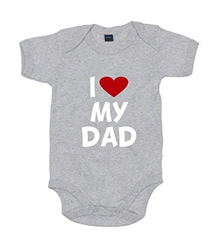 Shirt-Panda Baby Body I Love My Dad Für Jungen Und Mädchen Mit Motiv Spruch in 10 erhältlich Heather Grey Melange 6-12 Monate