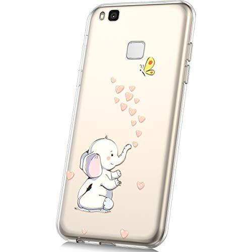 JAWSEU Carcasa Huawei P9 Lite Transparente Suave Silicona TPU Dibujos Animados Ultra Delgada Anti-rasguño Clara Parachoques de Gel Protección Cubierta Funda para Huawei P9 Lite,Elefante