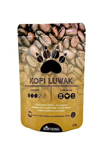 Kopi Luwak 100% Arabica Kaffee Ganze Bohne 50g (Katzenkaffee von frei lebenden Tieren)
