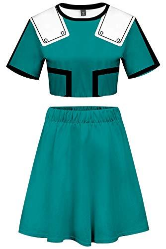 My Hero Academia Izuku Midoriya Cosplay Costume Cheerleader Cheerleading Uniform Crop Top Dress (Medium, Green)