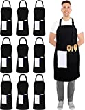 Utopia Kitchen Adjustable Black Bib Apron 100% Polyester with 2 Pockets Cooking Kitchen Aprons for Men and Women Chef (Pack of 10)