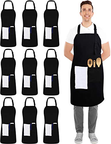 Utopia Kitchen 10 Pack Adjustable Bib Apron with 2 Pockets Black
