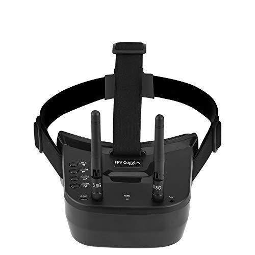 Tonysa 5,8 GHz Mini FPV Brille 3 Zoll 40 Kanal FPV Video Headset Brille 480 * 320 LCD Bildschirm mit doppelten RP SMA Antenne/1200 mAh Batterie für FPV Racing Drone Quadcopter
