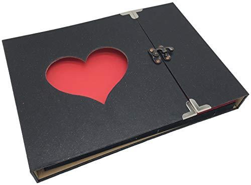 FUPUTWOフォトアルバム手作り写真スクラップブッキングハート窓黒台紙アンティーク(タイプA)
