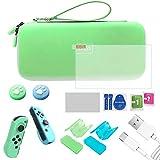 Kit de Accesorios 12 en 1 para Nintendo Switch, Funda para Nintendo Switch con 8 Cartucho de Juego, Carcasa de Silicona y Plastico, Protector de Pantalla, Tapas para Joystick