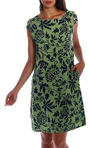 CHARIS MODA Leinen Kleid im exotischen floralen Druck Design Kurzarm Summer Collection (XL, Apfelgrün-Blau)