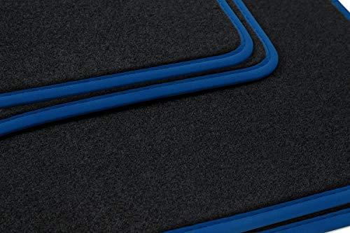 teileplus24 NL-138 Alfombrillas para Audi A3 8L Alfombrillas para Coche de Primera Calidad 4 Piezas Nubuck Costura Decorativa, Bordes:Azul