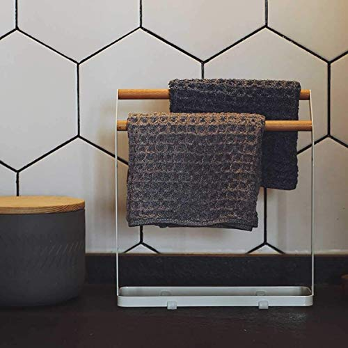 WLVG Toallero extraíble de 2 Niveles, de pie, de Metal, Hierro, Arte, paño de Cocina, Toalla de Secado, Organizador de Trapo, para Cocina, baño, Escritorio