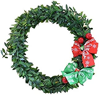 Pengcher Bow-Knot Christmas Garland Door Hanging Ornaments Room Christmas Tree Pendants for Decoration(Word)