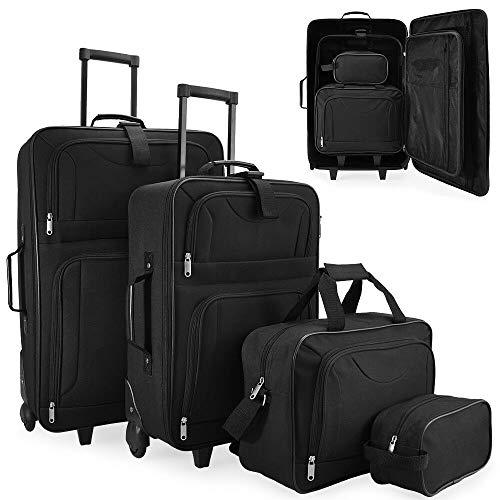 T-LoVendo TLV-HK-908 Juego de maletas de viaje 4 pcs con bolso y neceser, Negro