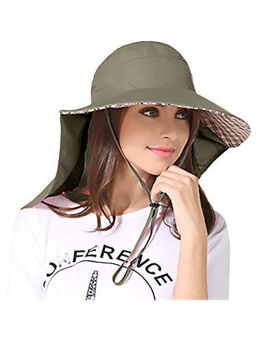 WANYING Unisex UV Schutz Sonnenhut mit 25cm Nackenschutz 11cm Großer Krempe Hut für Outdoor Aktivitäten Safari Angeln Camping Gartenarbeit - für Kopfumfang 56-60cm Armee Grün