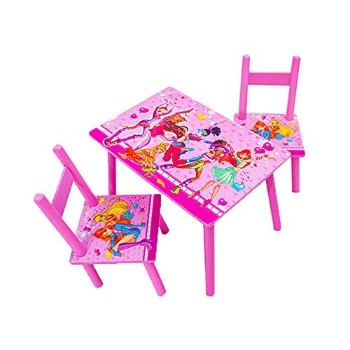 OMKMNOE 2 asientos para niños, muebles para niños, mesa de juegos y silla de madera, sillas de mesa de niños, color rosa