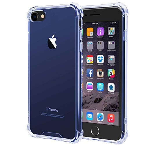 Compatible with iPhone 6 Plus Case, iPhone 6s Plus Case,Slim Fit Shock-Absorption Bumper Cover,Heavy Duty Protection Anti-Scratch Clear Back,(Blue)