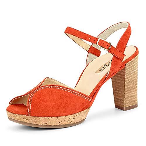 Paul Green 7548 046 Damen modische Sandalette aus Veloursleder mit 65-mm-Absatz, Groesse 39, orange