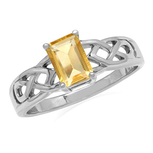 Silvershake 1.1ct. 7X5mm Natural Octagon Shape Citrine 925 Sterling Silver Celtic Knot Solitaire Ring Size 8.5
